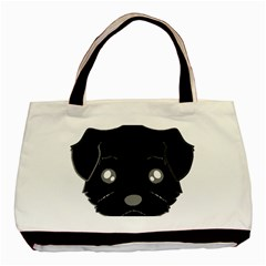 Affenpinscher Cartoon 2 Sided Head Twin-sided Black Tote Bag