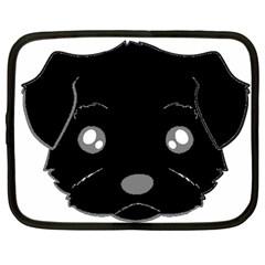 Affenpinscher Cartoon 2 Sided Head Netbook Sleeve (Large)