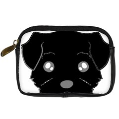 Affenpinscher Cartoon 2 Sided Head Digital Camera Leather Case