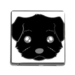 Affenpinscher Cartoon 2 Sided Head Memory Card Reader with Storage (Square)