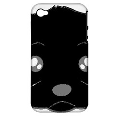 Affenpinscher Cartoon 2 Sided Head Apple iPhone 4/4S Hardshell Case (PC+Silicone)