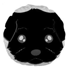 Affenpinscher Cartoon 2 Sided Head Large 18  Premium Round Cushion