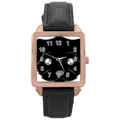 Affenpinscher Cartoon 2 Sided Head Rose Gold Leather Watch
