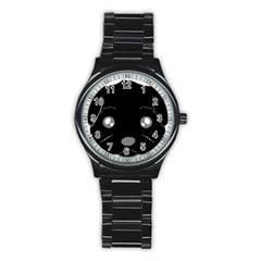 Affenpinscher Cartoon 2 Sided Head Sport Metal Watch (Black)