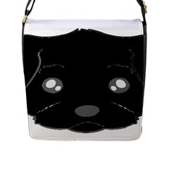 Affenpinscher Cartoon 2 Sided Head Flap Closure Messenger Bag (Large)