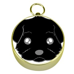 Affenpinscher Cartoon 2 Sided Head Gold Compass