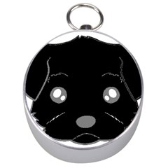 Affenpinscher Cartoon 2 Sided Head Silver Compass