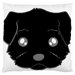 Affenpinscher Cartoon 2 Sided Head Large Flano Cushion Case (One Side)