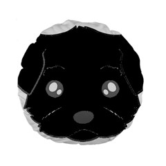 Affenpinscher Cartoon 2 Sided Head Standard 15  Premium Flano Round Cushion