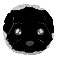 Affenpinscher Cartoon 2 Sided Head Large 18  Premium Flano Round Cushion