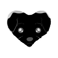 Affenpinscher Cartoon 2 Sided Head Standard 16  Premium Flano Heart Shape Cushion
