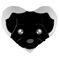 Affenpinscher Cartoon 2 Sided Head Large 19  Premium Flano Heart Shape Cushion