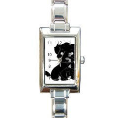 Affenpinscher Cartoon Rectangular Italian Charm Watch
