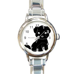 Affenpinscher Cartoon Round Italian Charm Watch