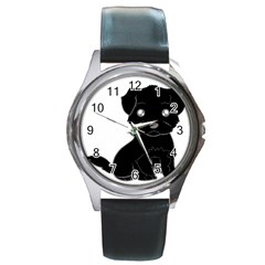 Affenpinscher Cartoon Round Leather Watch (Silver Rim)