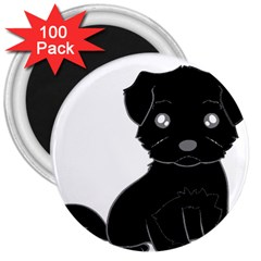 Affenpinscher Cartoon 3  Button Magnet (100 pack)
