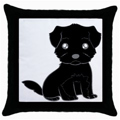 Affenpinscher Cartoon Black Throw Pillow Case