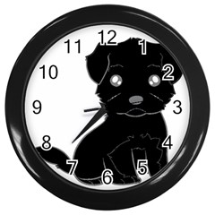 Affenpinscher Cartoon Wall Clock (Black)
