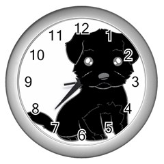 Affenpinscher Cartoon Wall Clock (Silver)