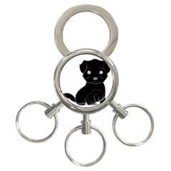 Affenpinscher Cartoon 3-Ring Key Chain