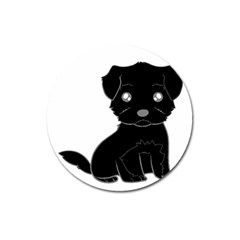 Affenpinscher Cartoon Magnet 3  (Round)