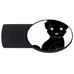 Affenpinscher Cartoon 1GB USB Flash Drive (Oval)