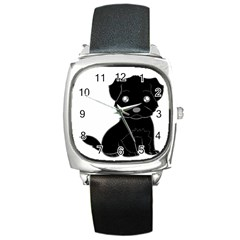 Affenpinscher Cartoon Square Leather Watch