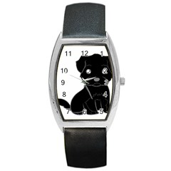 Affenpinscher Cartoon Tonneau Leather Watch