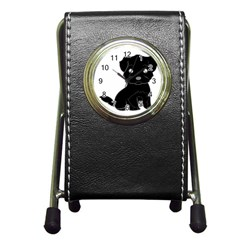 Affenpinscher Cartoon Stationery Holder Clock