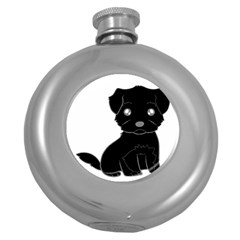 Affenpinscher Cartoon Hip Flask (Round)