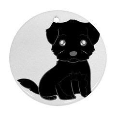 Affenpinscher Cartoon Round Ornament (Two Sides)