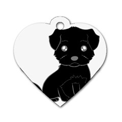 Affenpinscher Cartoon Dog Tag Heart (Two Sided)