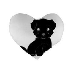 Affenpinscher Cartoon Standard 16  Premium Heart Shape Cushion