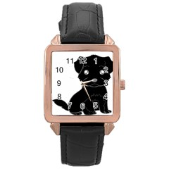 Affenpinscher Cartoon Rose Gold Leather Watch