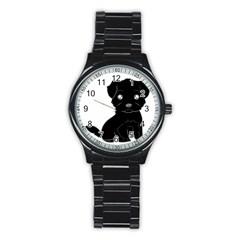 Affenpinscher Cartoon Sport Metal Watch (Black)