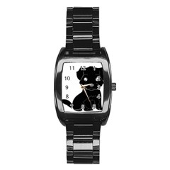 Affenpinscher Cartoon Stainless Steel Barrel Watch
