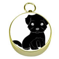 Affenpinscher Cartoon Gold Compass