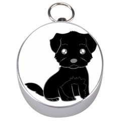 Affenpinscher Cartoon Silver Compass