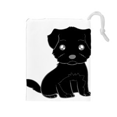 Affenpinscher Cartoon Drawstring Pouch (Large)