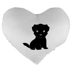 Affenpinscher Cartoon Large 19  Premium Flano Heart Shape Cushion