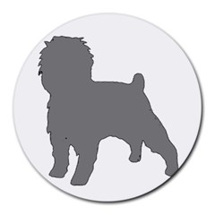 Affenpinscher Color Grey Silo 8  Mouse Pad (Round)