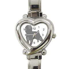Affenpinscher Color Grey Silo Heart Italian Charm Watch