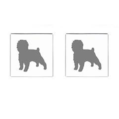 Affenpinscher Color Grey Silo Cufflinks (Square)