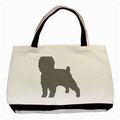 Affenpinscher Color Grey Silo Twin-sided Black Tote Bag