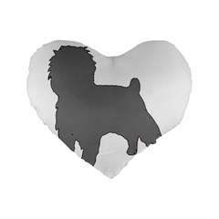 Affenpinscher Color Grey Silo Standard 16  Premium Heart Shape Cushion