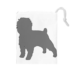 Affenpinscher Color Grey Silo Drawstring Pouch (Large)