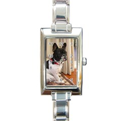 Sitting 3 French Bulldog Rectangular Italian Charm Watch