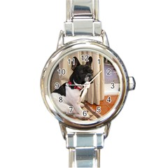 Sitting 3 French Bulldog Round Italian Charm Watch