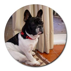 Sitting 3 French Bulldog 8  Mouse Pad (Round)