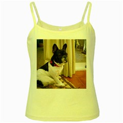 Sitting 3 French Bulldog Yellow Spaghetti Tank